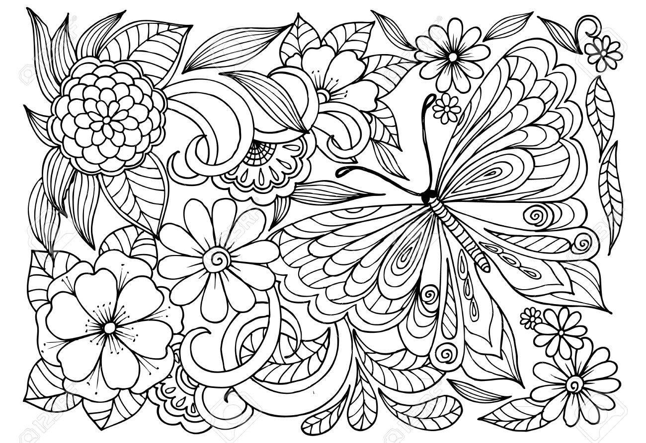 大人の塗り絵の蝶と黒と白の花模様のイラスト素材ベクタ Image