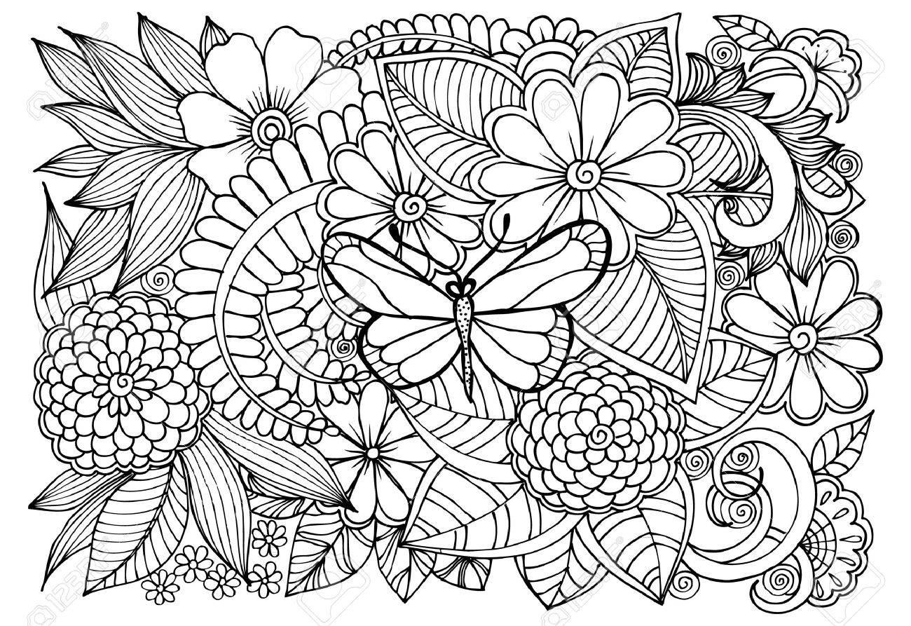 大人の塗り絵の蝶と黒と白の花柄のイラスト素材ベクタ Image 71801424
