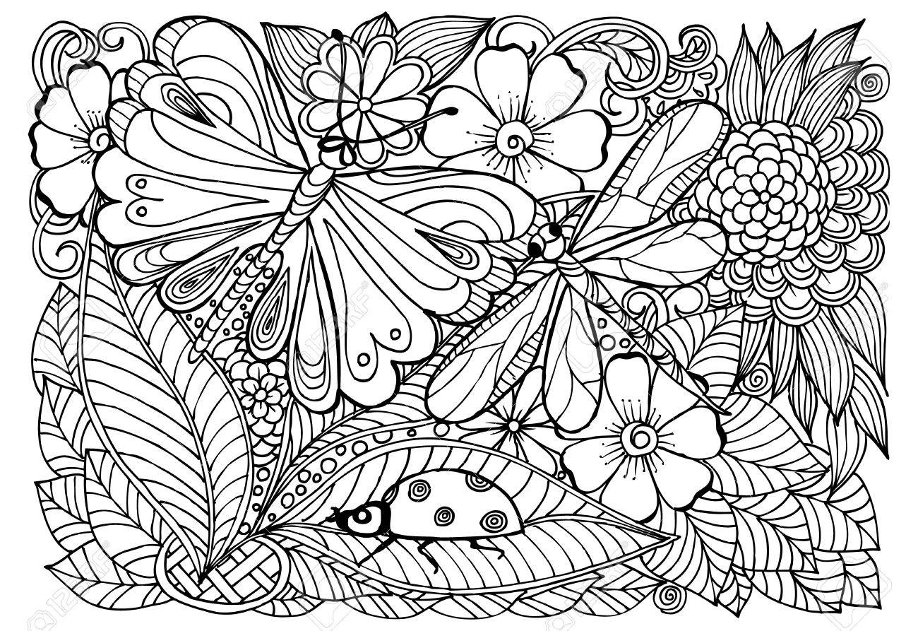 Coloriage Coccinelle Et Papillon.Motif Coccinelle Libellule Papillon Et Fleur A Colorier