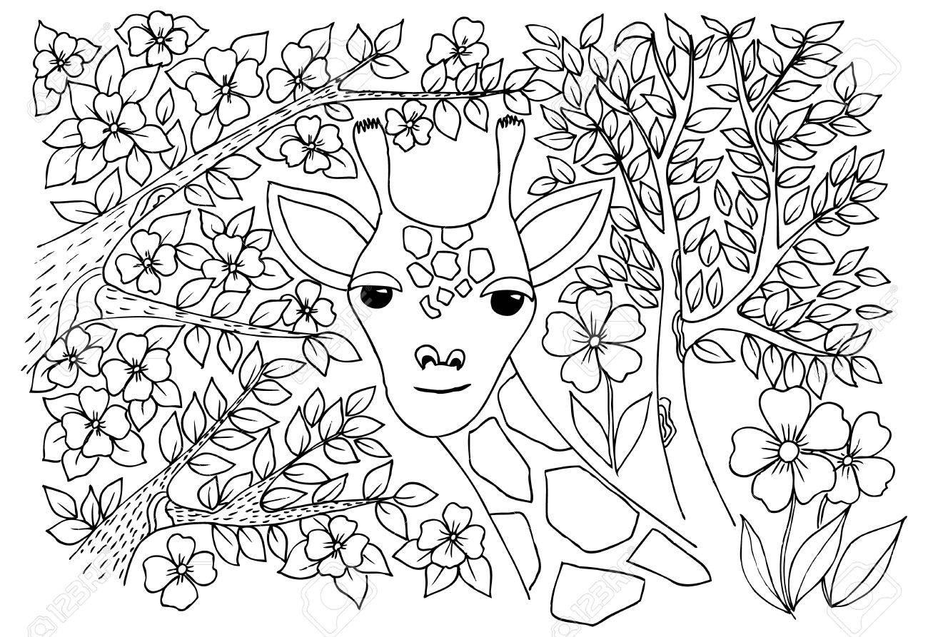 Jirafa Agradable En La Sabana Dibujo Monocromo Con árboles Y Flores Para Colorear