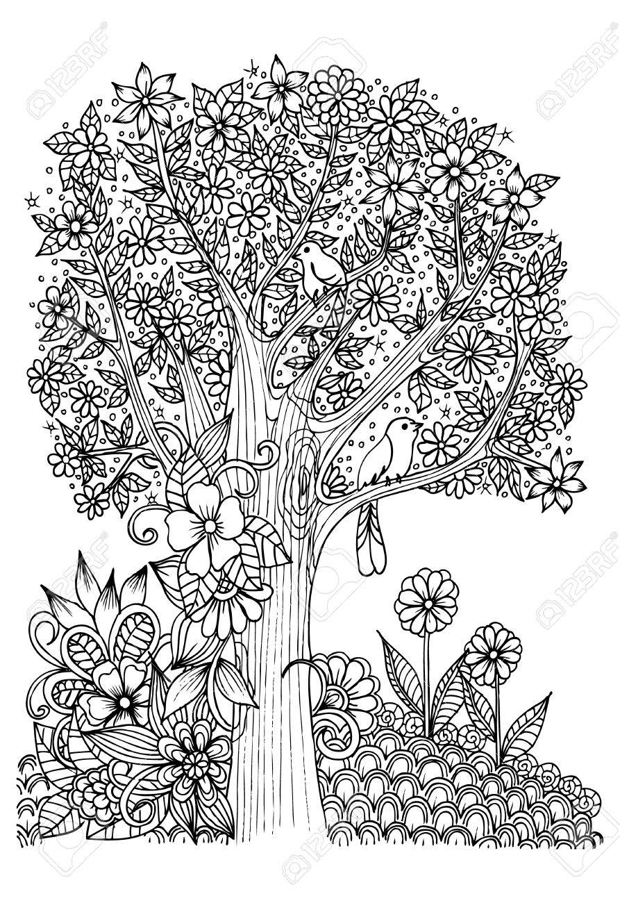Flowers In Black And White. Tree With Birds. Doodle Art For Coloring ...