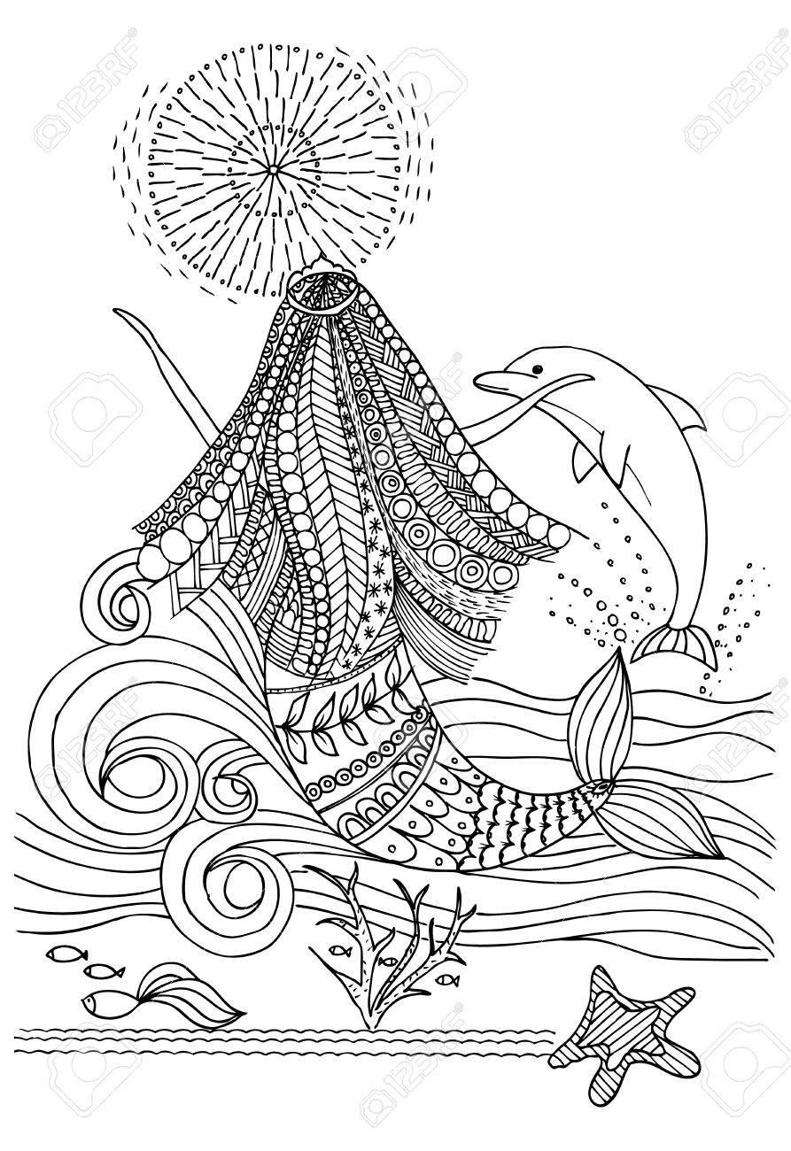 Página Para Colorear Con Delfines Y Marmotas Ilustraciones ...
