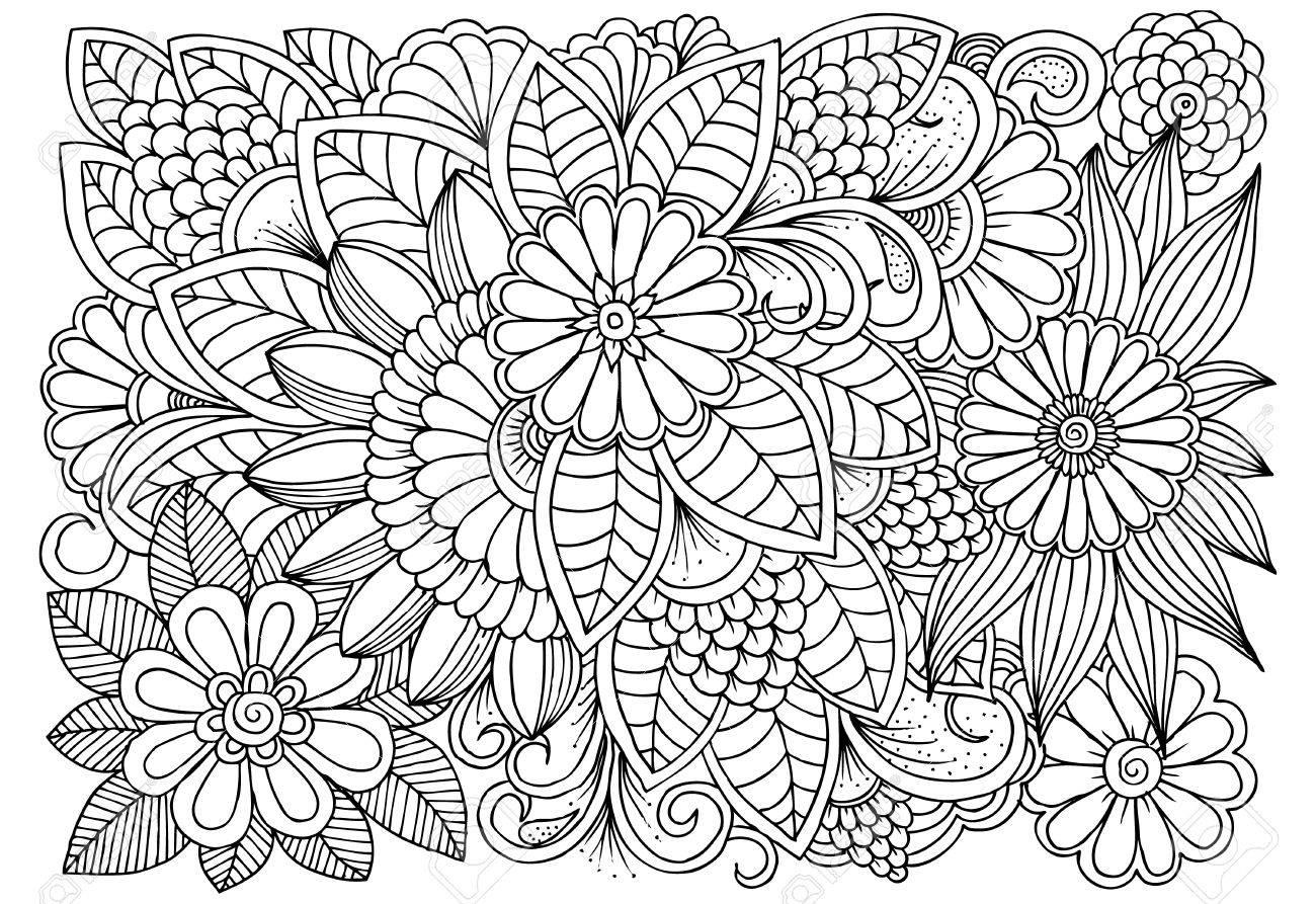 Patron De Flores Blanco Y Negro Para Colorear Garabatos Dibujo