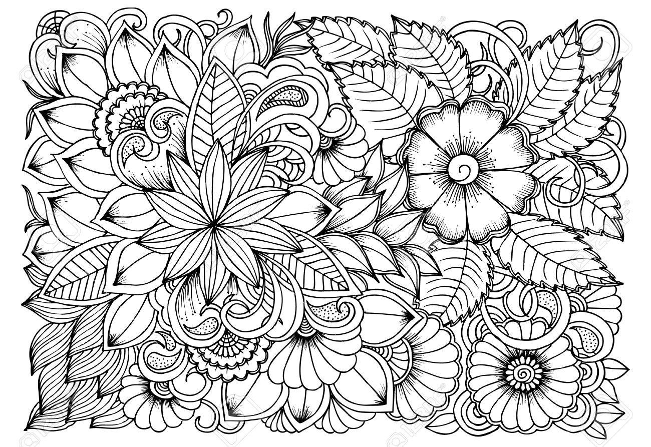 - Black And White Flower Pattern For Coloring. Doodle Floral Drawing