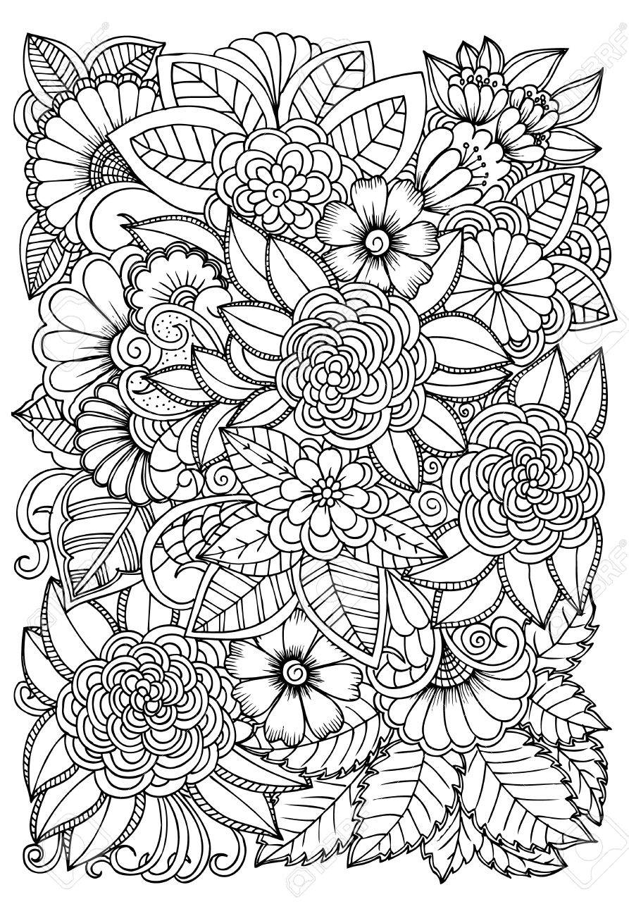 Black And White Flower Pattern For Coloring. Doodle Floral Drawing ...