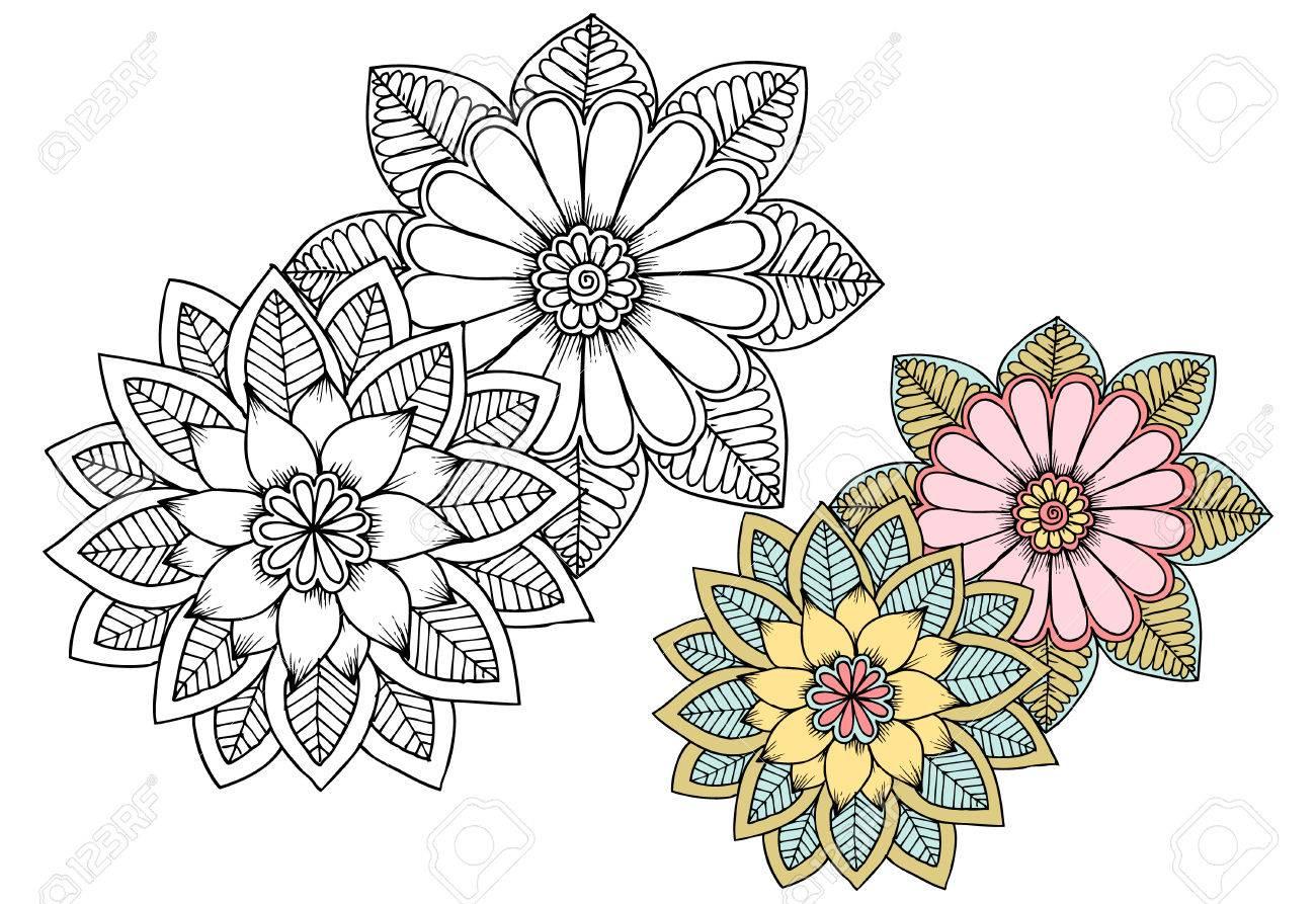 Flores En Blanco Y Negro Como Elemento De Diseño. Puede Utilizar ...