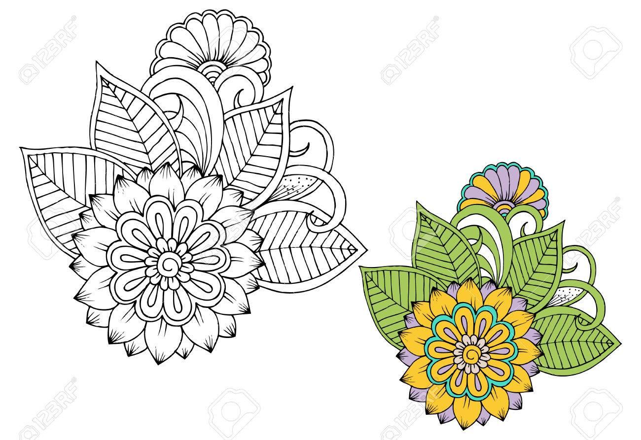 Flores En Blanco Y Negro Como Elemento De Diseño Puede Utilizar Para Colorear E Imprimir