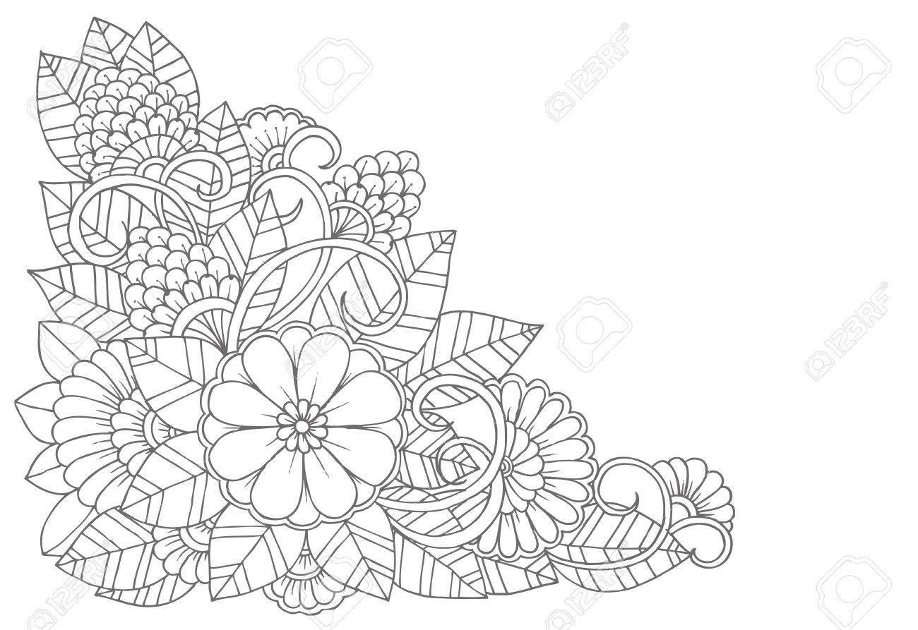 Dorable Dibujos De Flores En Blanco Y Negro Friso - Ideas de ...