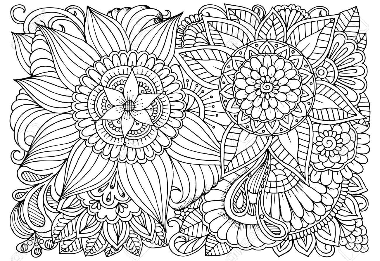 - Doodle Floral Drawing. Art Therapy Coloring Page. Royalty Free