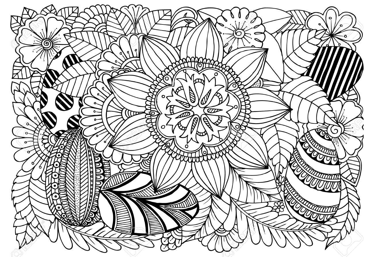 Easter Eggs And Flowers For Art Therapy Coloring Book