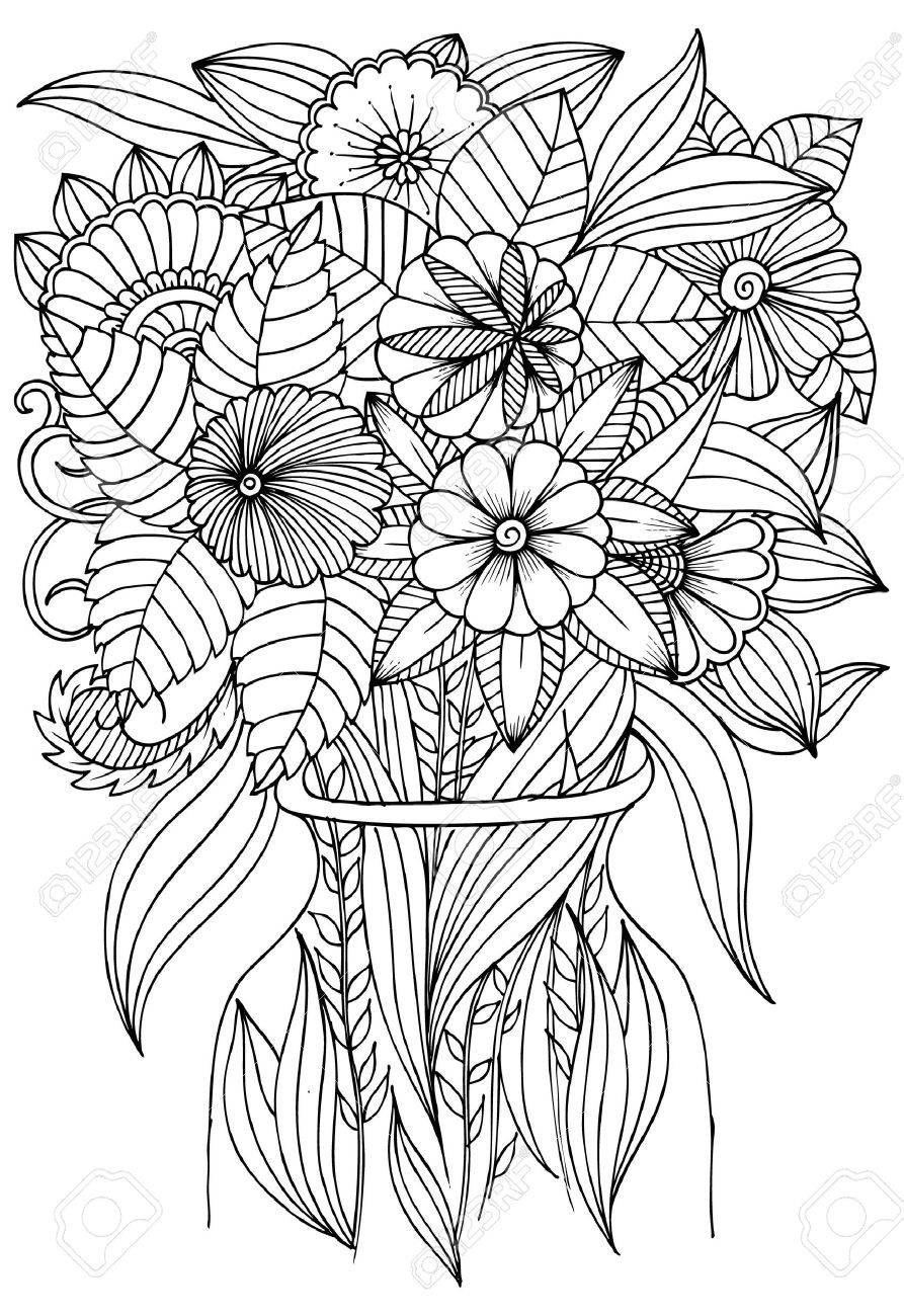 - Flowers In Vase For Art Therapy Coloring Book. Royalty Free