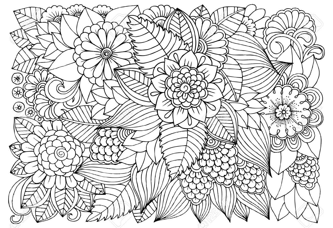 Patrón De Flor Blanco Y Negro Para Colorear Para Adultos. Doodle ...