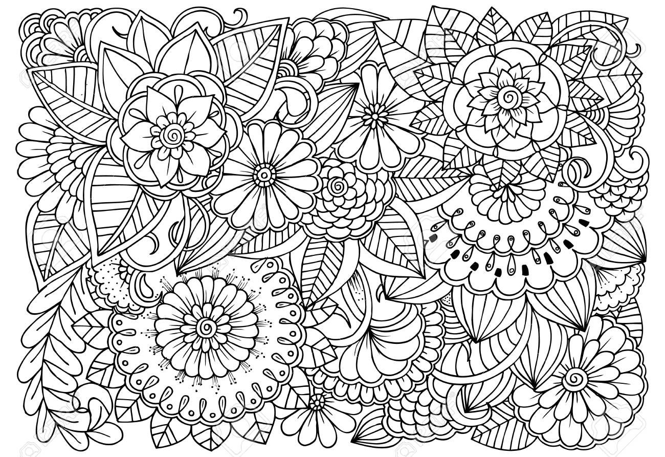 Black And White Flower Pattern For Adult Coloring Book Doodle