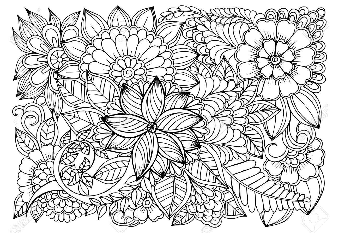 Dibujo Para Colorear De Flores Monocromáticas Para Colorear Para Adultos