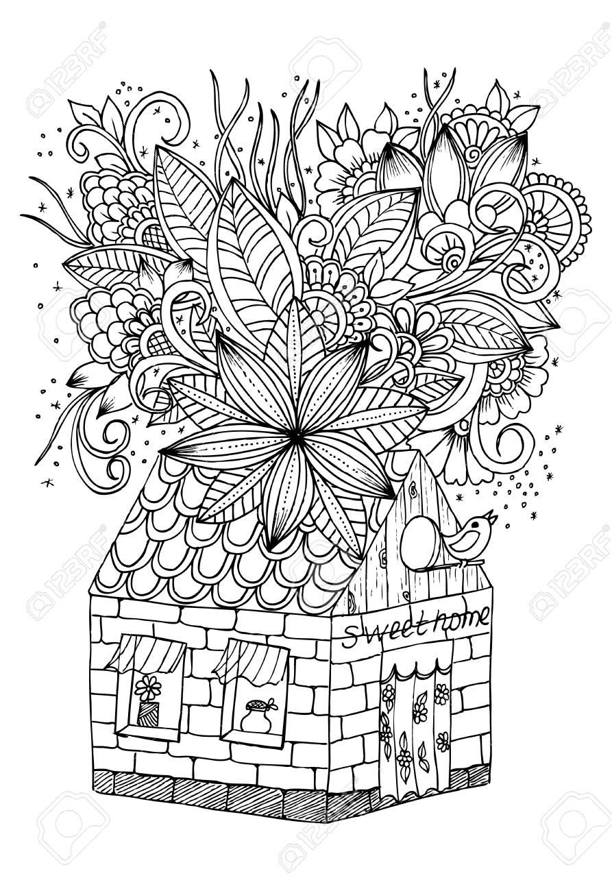 Muy Muy Lejos Casa De Fantasía Dulce Hogar Y Hermosas Flores Página Para Colorear Libro