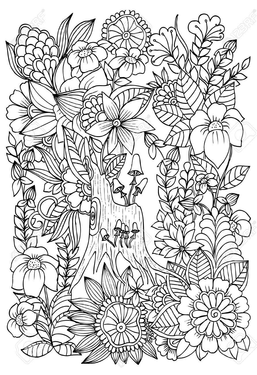 Setas En Un árbol De Stub. Flores Silvestres En El Bosque. Página ...