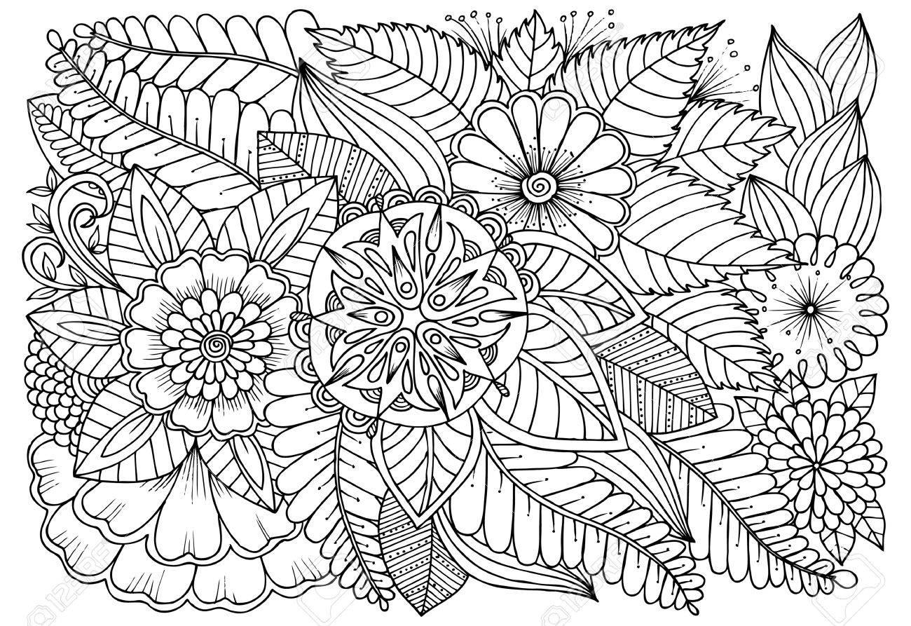 Modele De Fleur Noir Et Blanc Pour Livre De Coloriage Adulte Dessin