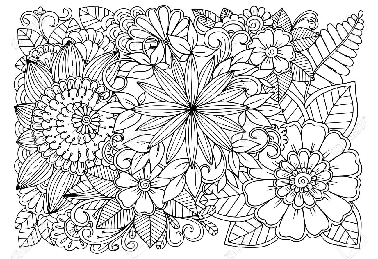 Black and white flower pattern for adult coloring book. Doodle floral drawing. Art therapy coloring page. - 128701247