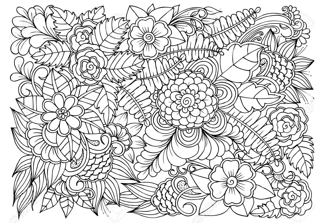 - Coloring Page Of Monochrome Flowers For Adult Coloring Book