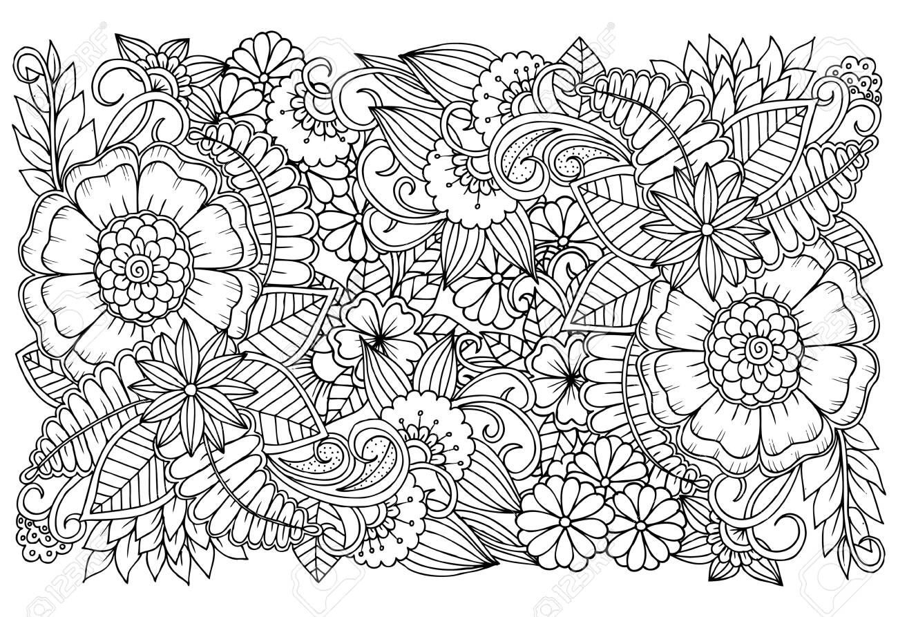 - Black And White Flower Pattern For Adult Coloring Book. Doodle
