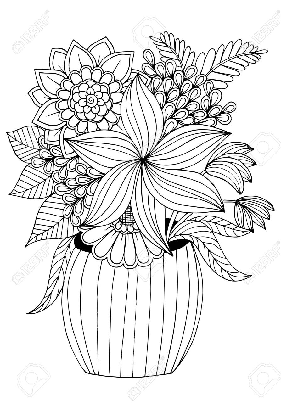 Flower Bouquet In The Vase Black And White Drawing Can Use Royalty Free Cliparts Vectors And Stock Illustration Image 128701698