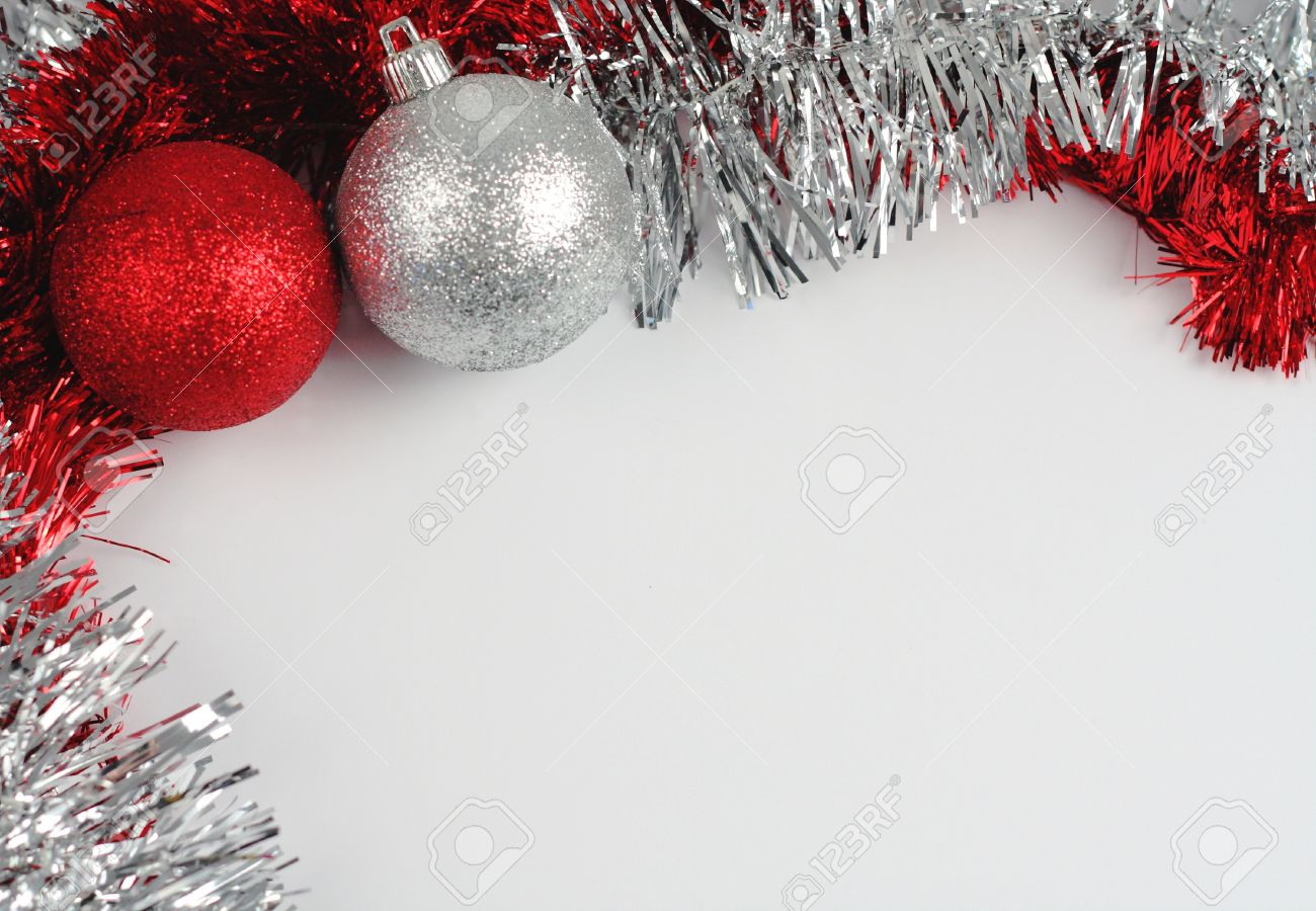 red and silver christmas decorations frame stock photo 11696478