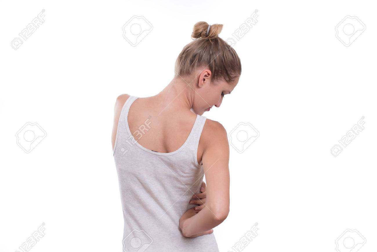 Young Female Touching Right Side Of Body In Pain Kidney Pain Stock Photo Picture And Royalty Free Image Image 62860927