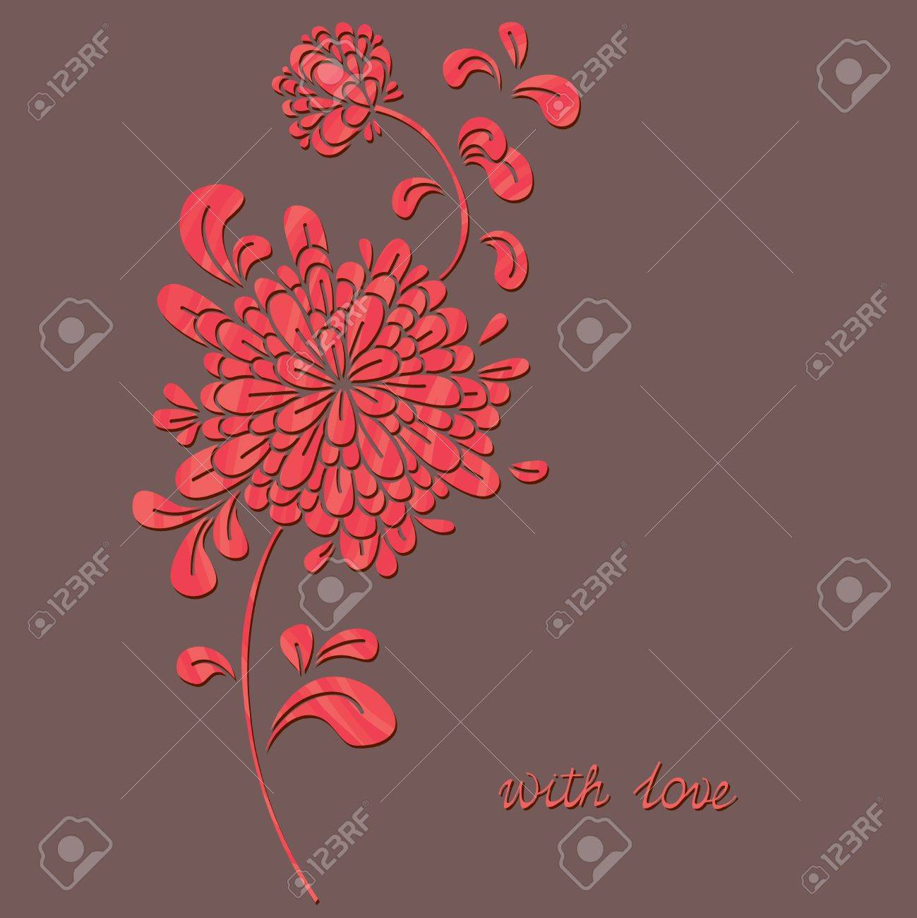 Postcard. A flower, different colors shimmering in the background. Stock Vector - 12269194