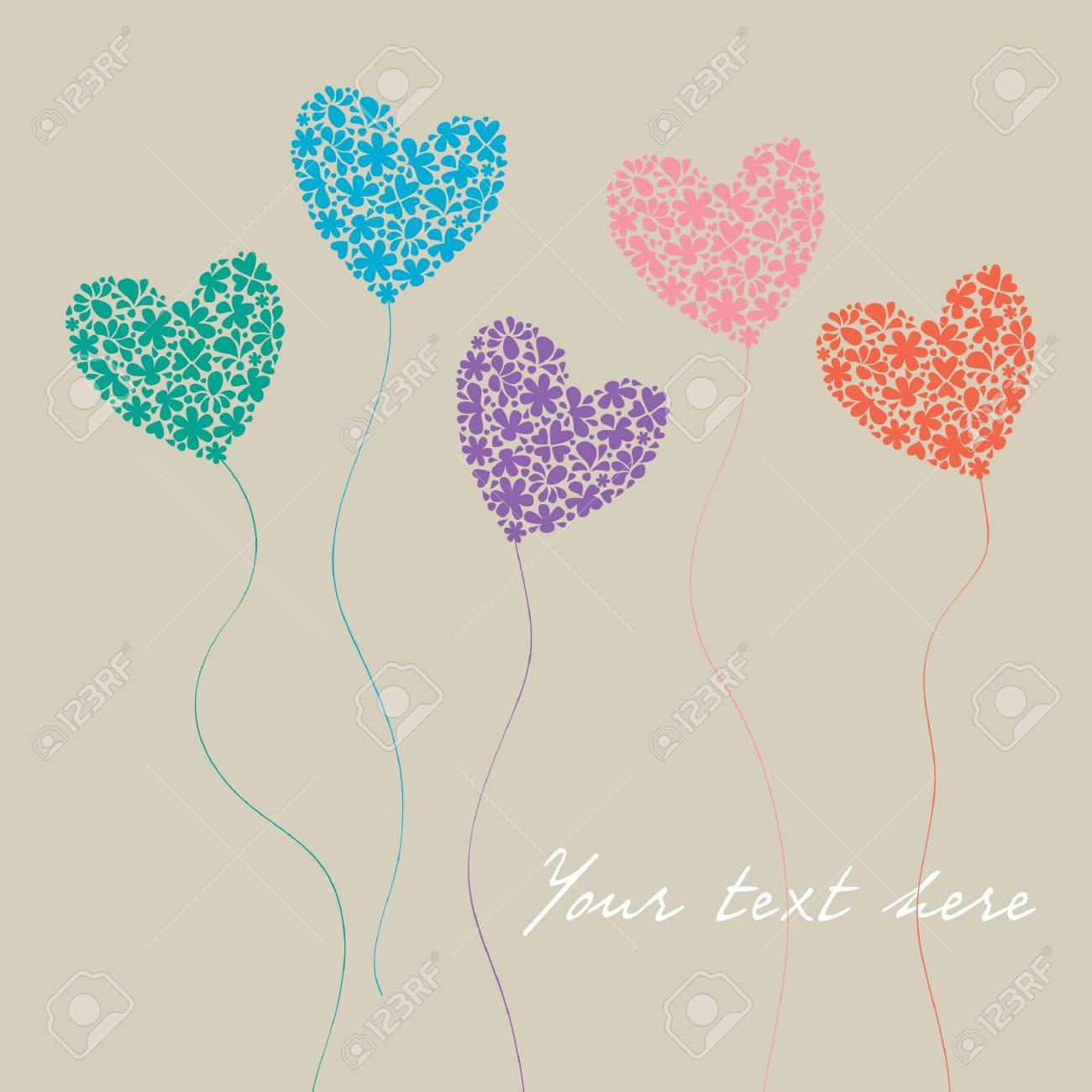 greeting card with colorful flowers hearts in the form of balloons Stock Vector - 19899404