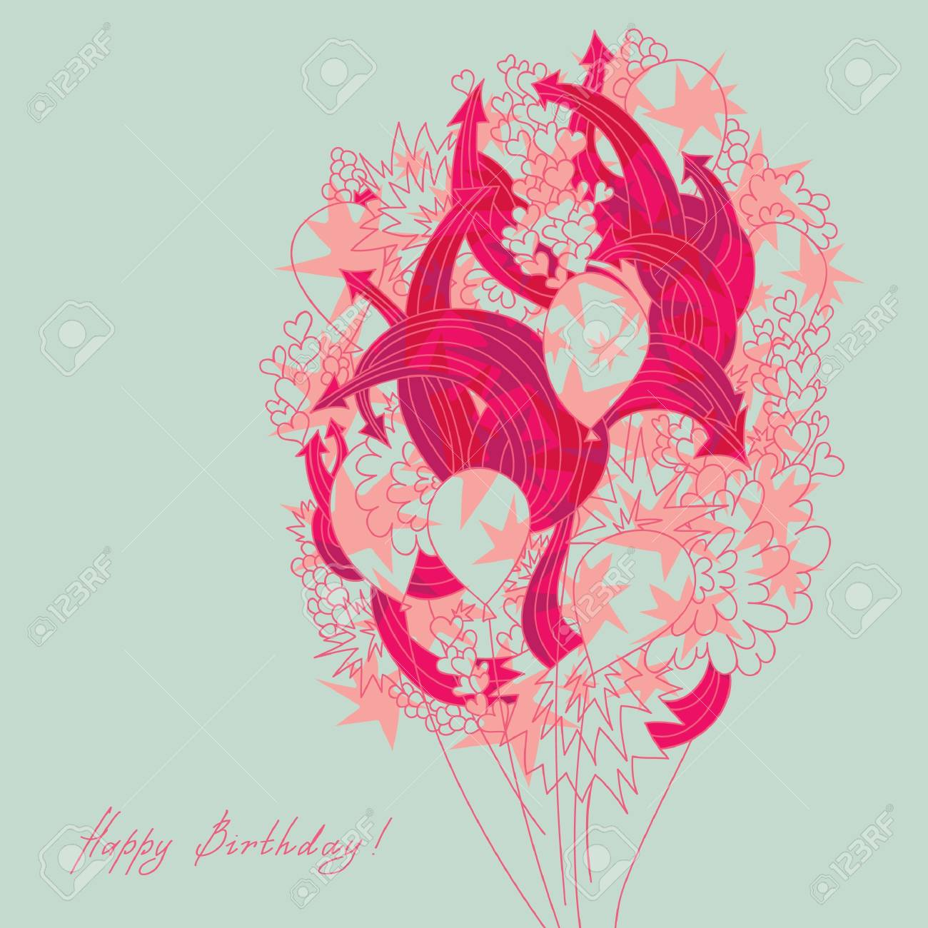 Greeting card with a bundle of balloons, decorated with hearts and arrows Stock Vector - 19899422