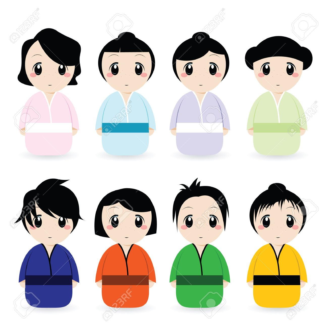 cartoon geisha set Stock Vector - 9312381