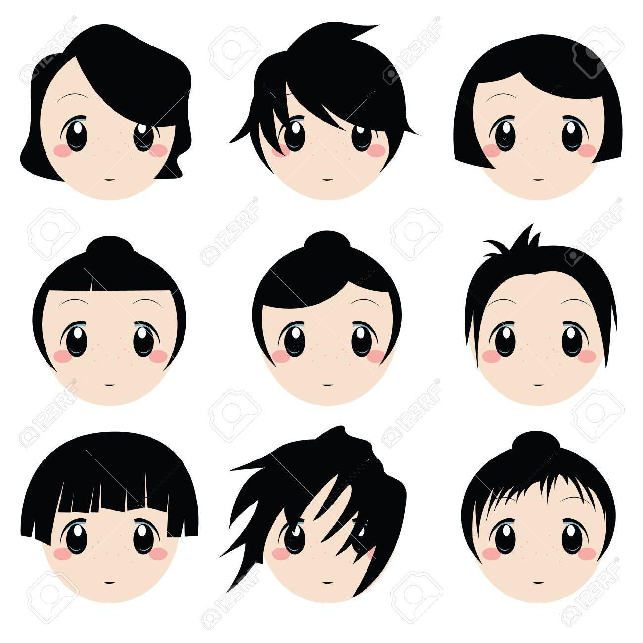 Cartoon face ensemble Banque d'images - 9312380
