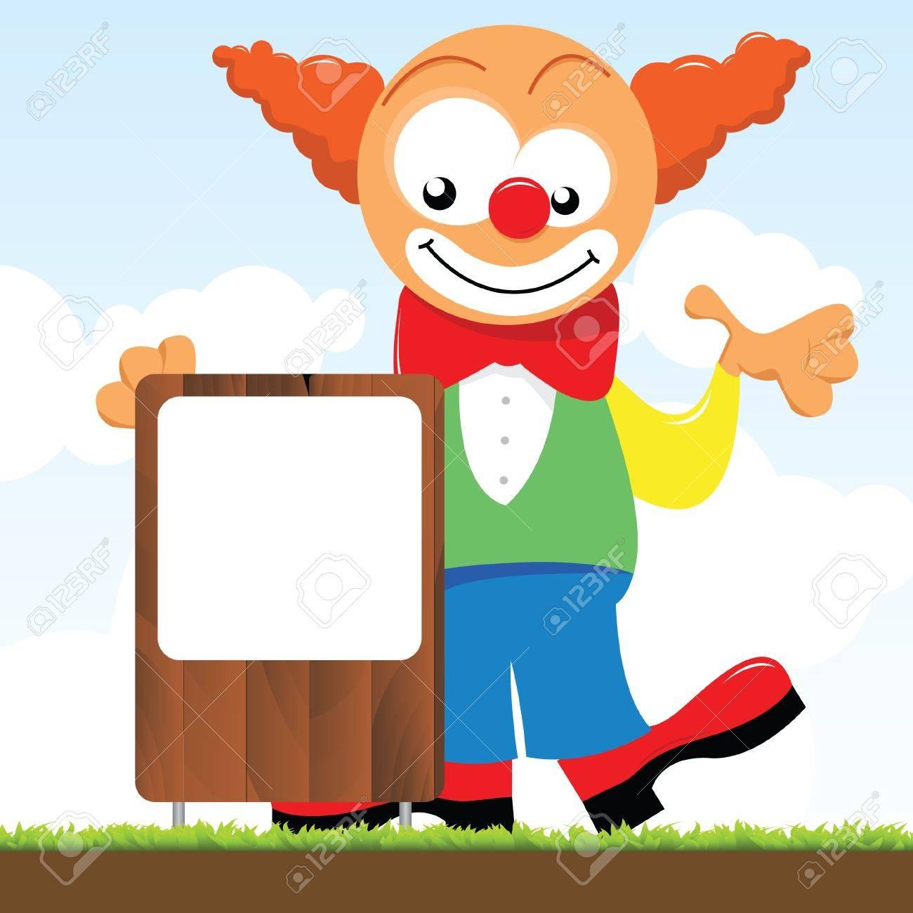 a clown holding a signboard Stock Vector - 10528948