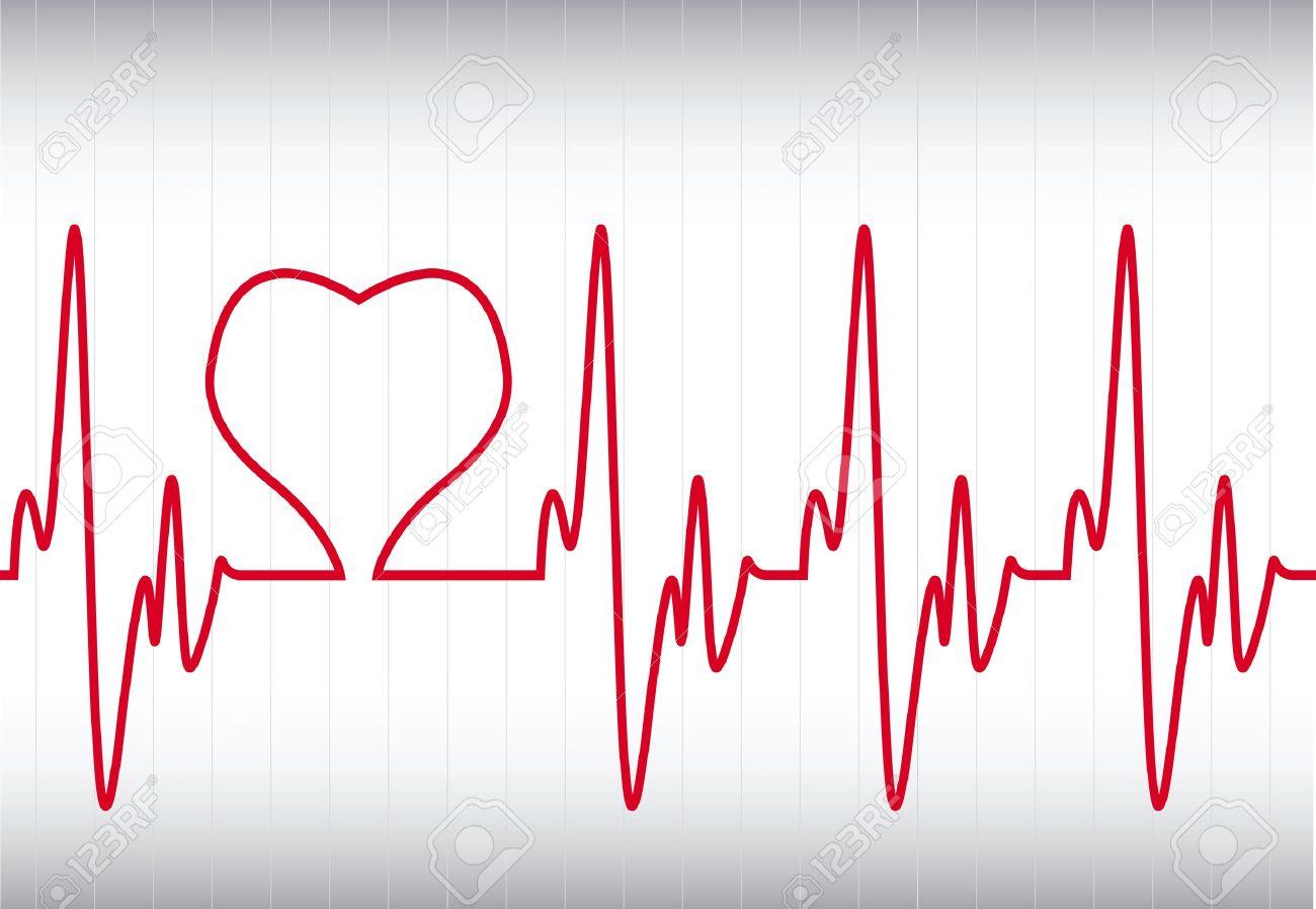 c?ur sur un cardiogramme Banque d'images - 10714318