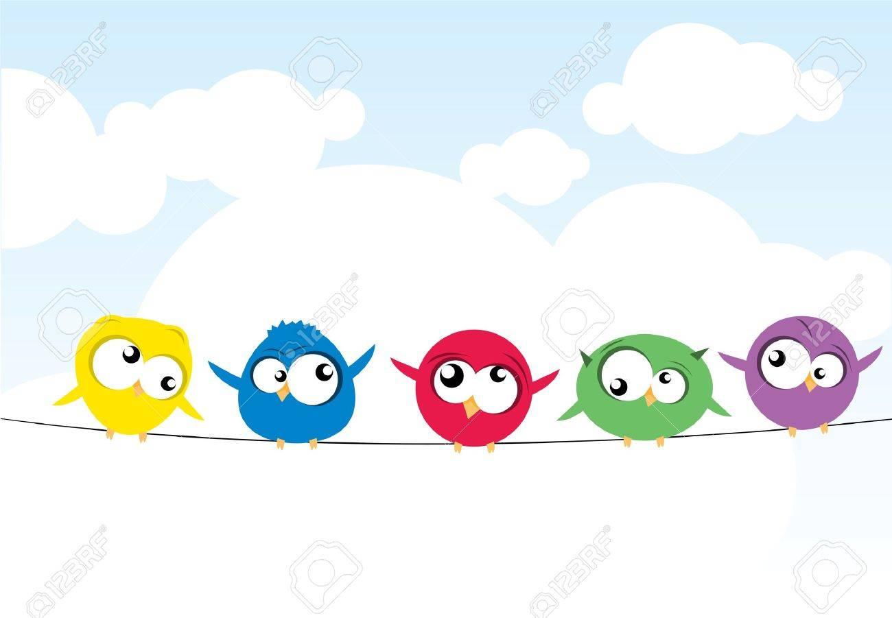 Oiseaux sur le fil Banque d'images - 10714323