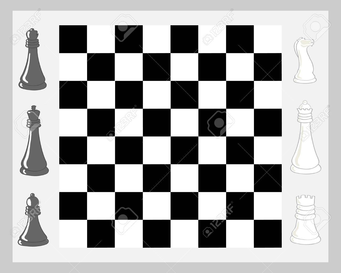 a hand drawn illustration of a chess board with pieces in black and white on a pale gray background Stock Vector - 6970141