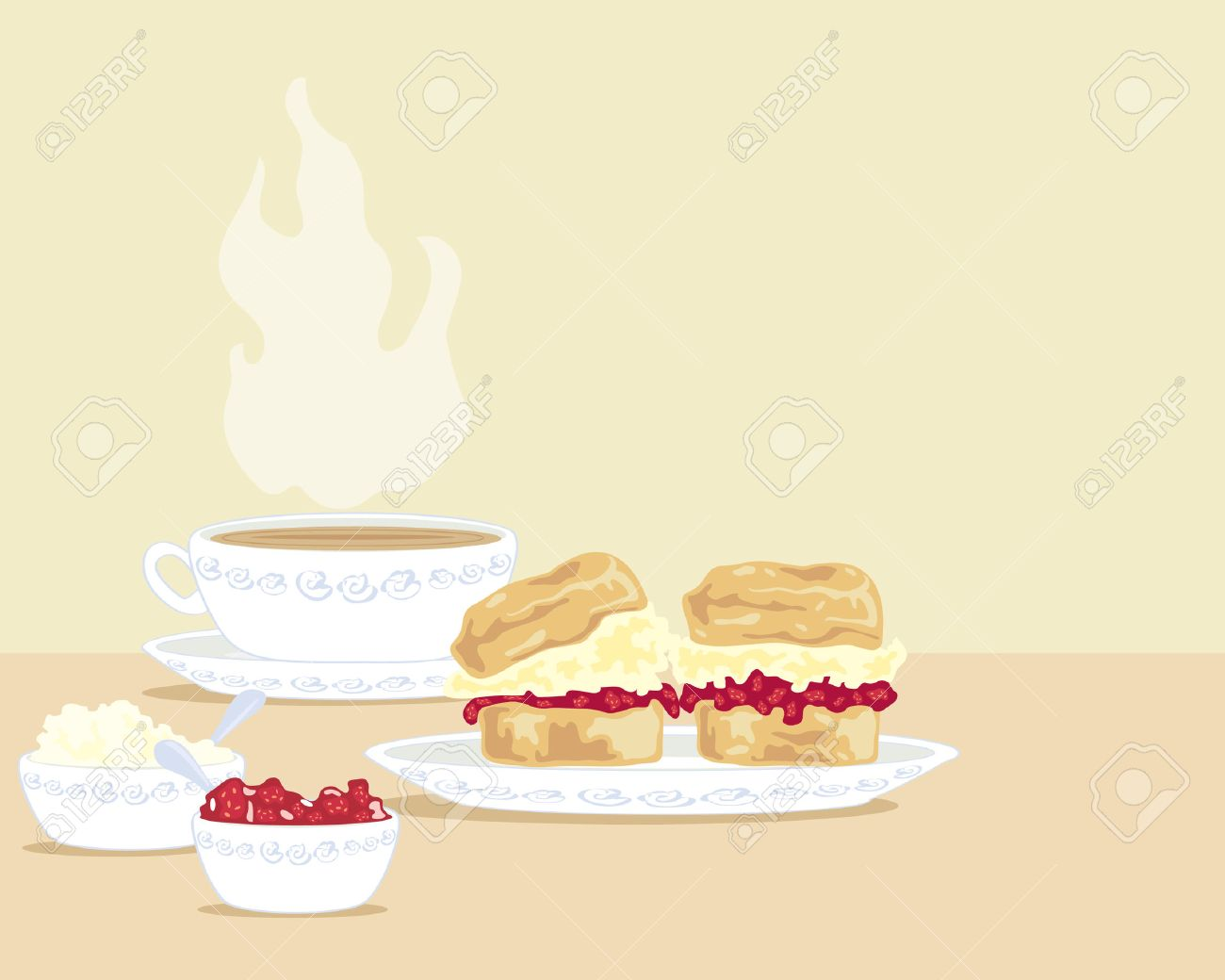 a hand drawn illustration of a cup of tea with two scones on a plate and a bowl of clotted cream and a bowl of jam Stock Vector - 7201803