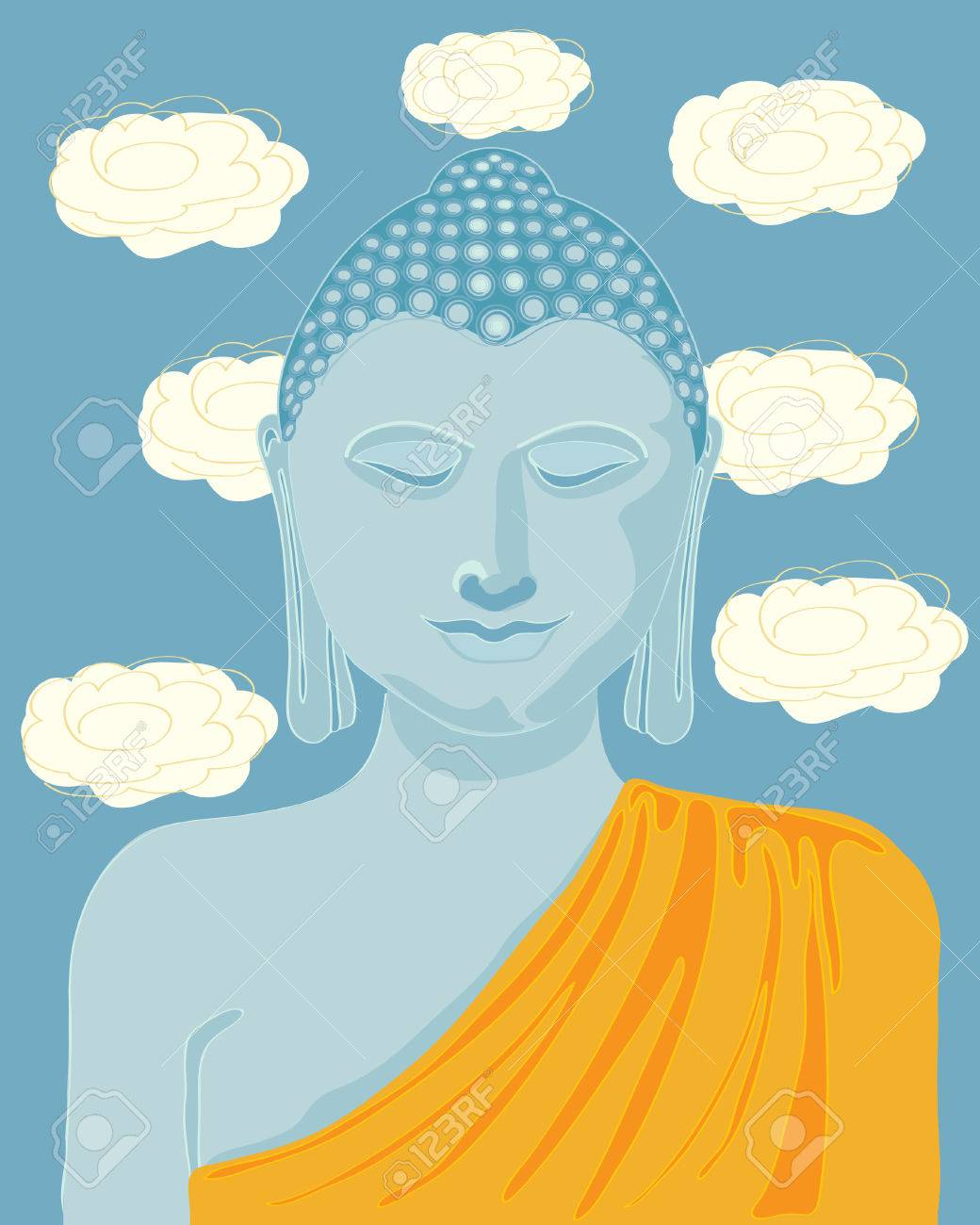 a hand drawn illustration of buddha with orange robes and lotus flowers in the background Stock Vector - 7542677