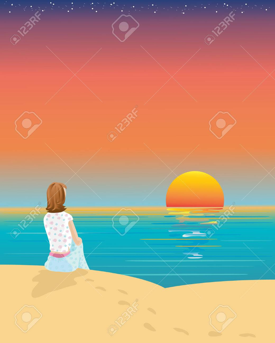 Drawings of Sunset at The Beach Beach Watching The Sunset