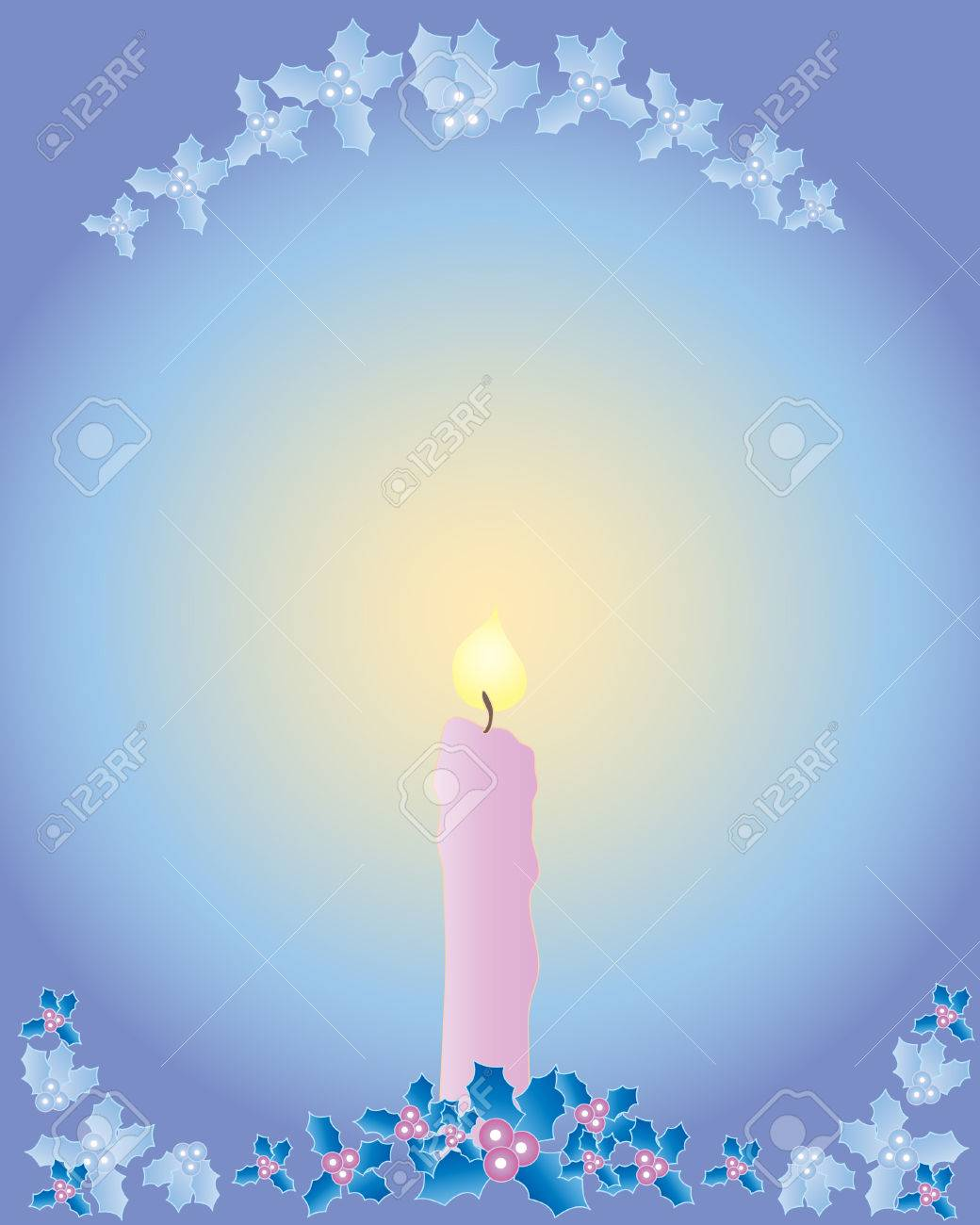 a hand drawn illustration of a christmas candle with holly decoration on a multi colored background Stock Vector - 7685819