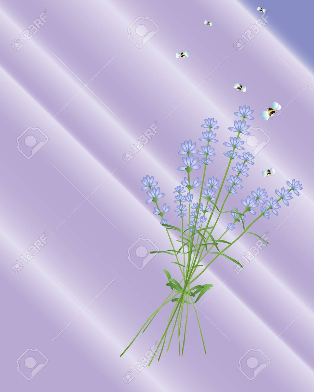 an illustration of lavender flowers with bees flying away on a purple background Stock Vector - 7878520
