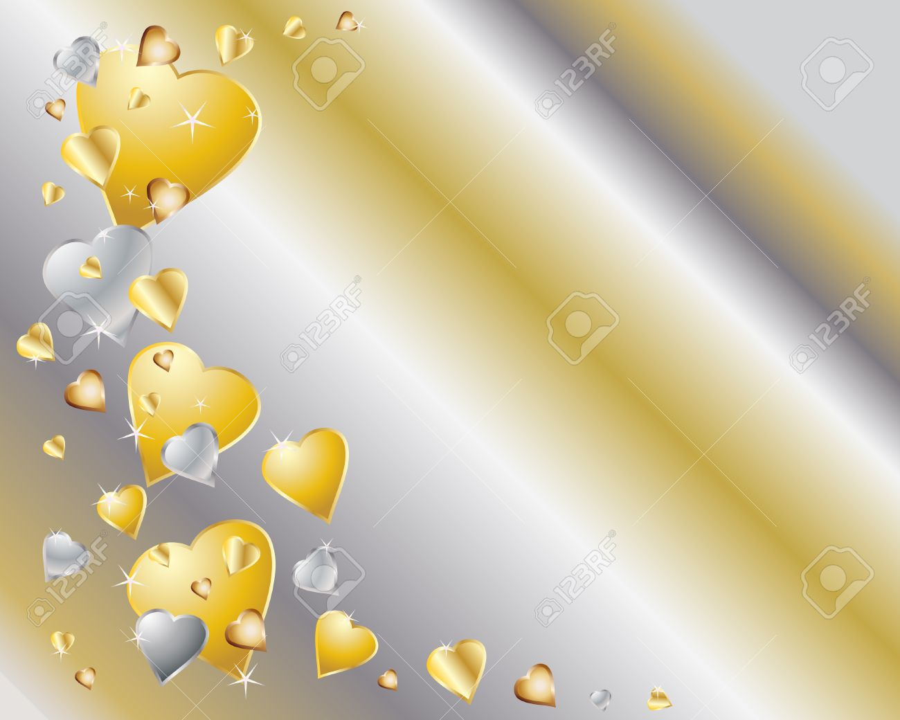an illustration of gold and silver hearts with sparkles on a metallic background Stock Vector - 8077615