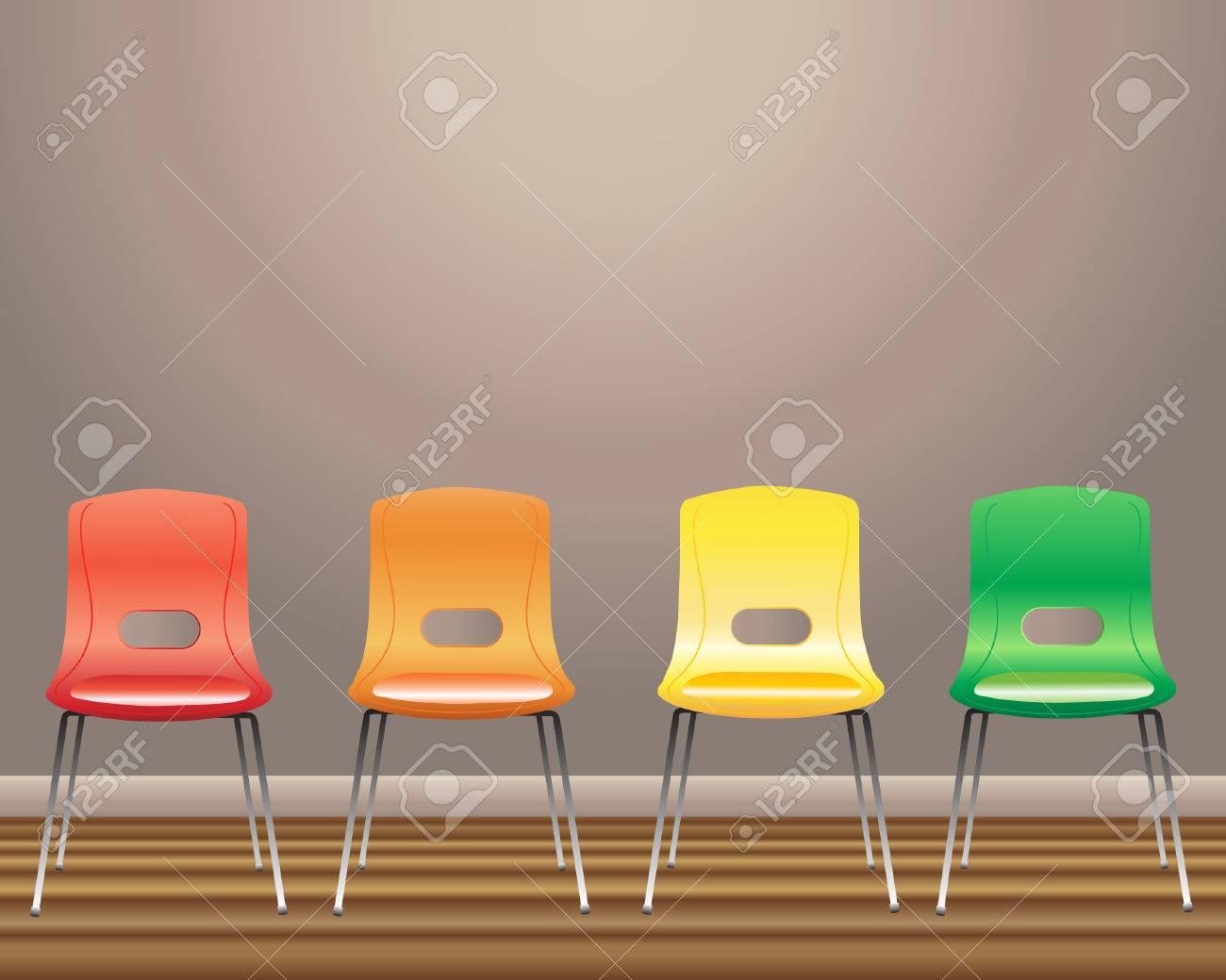 Une illustration de quatre chaises de salle d'attente en rouge ...
