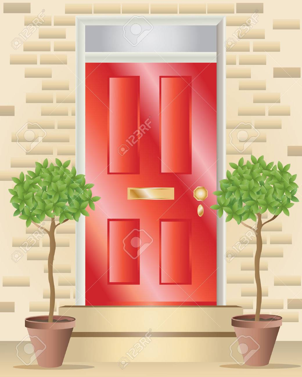 Front door clipart - Red Front Door An Illustration Of A Bright Red Shiny Front Door With Brass