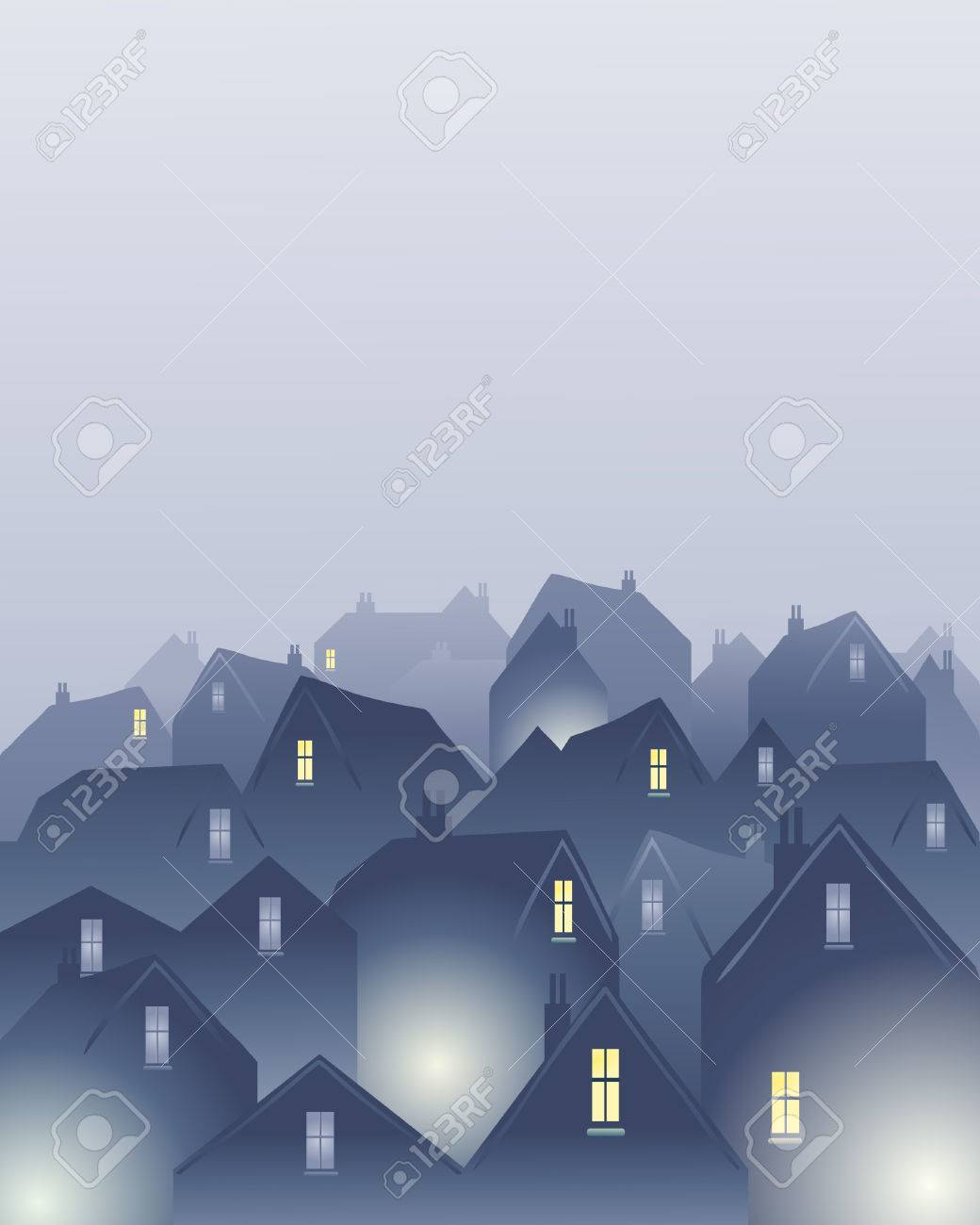 an illustration of rooftops in a city on a misty day Stock Vector - 8543168