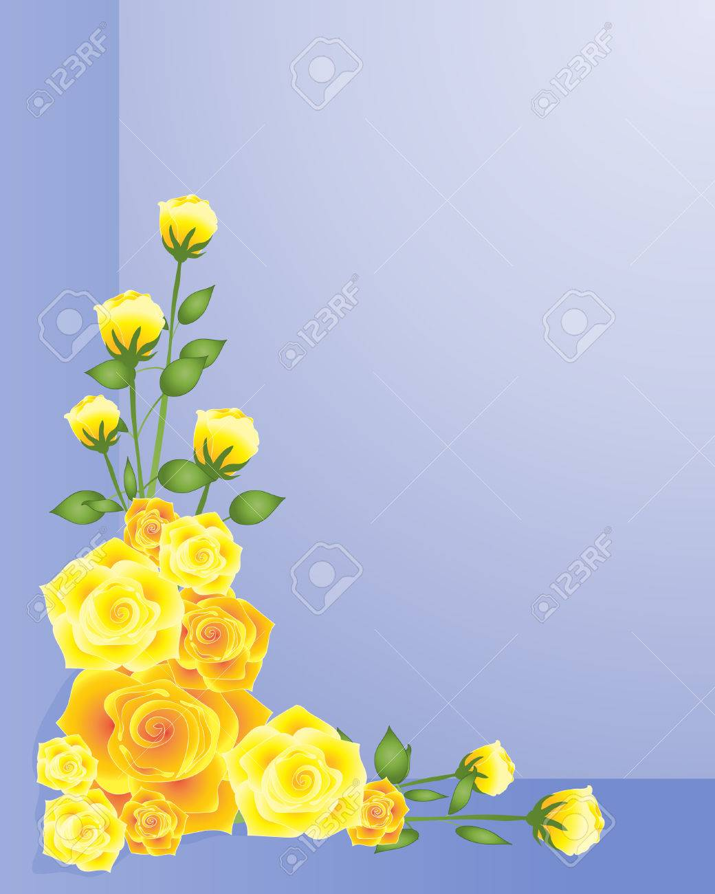 an illustration of an arrangement of yellow roses in one corner on a purple blue background Stock Vector - 8565032