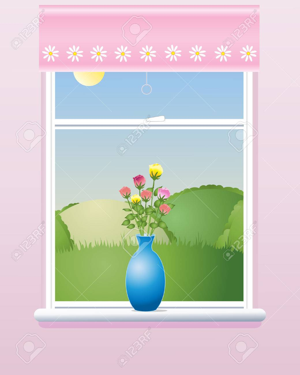 an illustration of a room window in summer with a pink blind a vase of roses and a view of rolling hills under a blue sky Stock Vector - 8660401