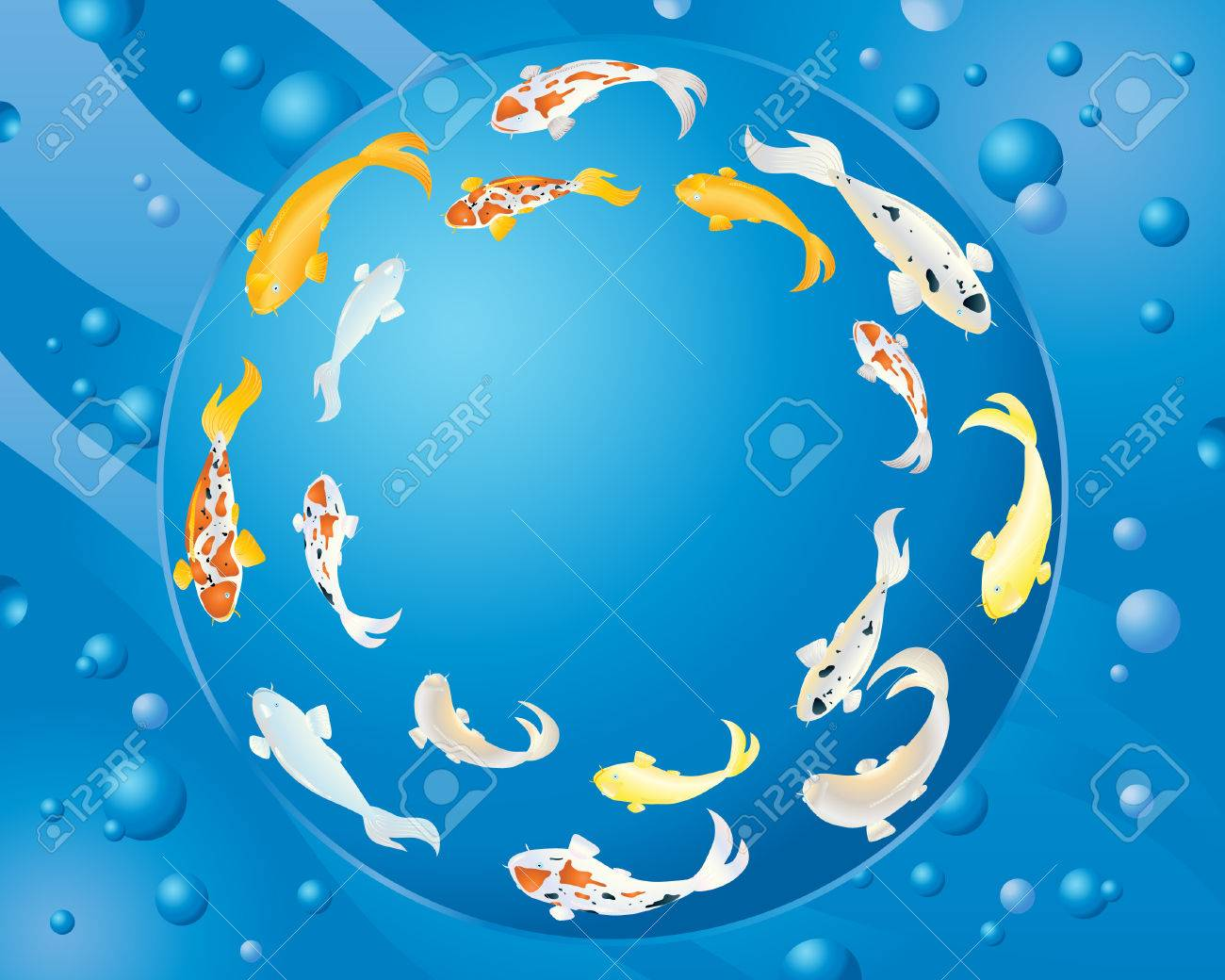 an illustration of colorful koi carp swimming in a circle with blue water and bubbles in the background Stock Vector - 9054192