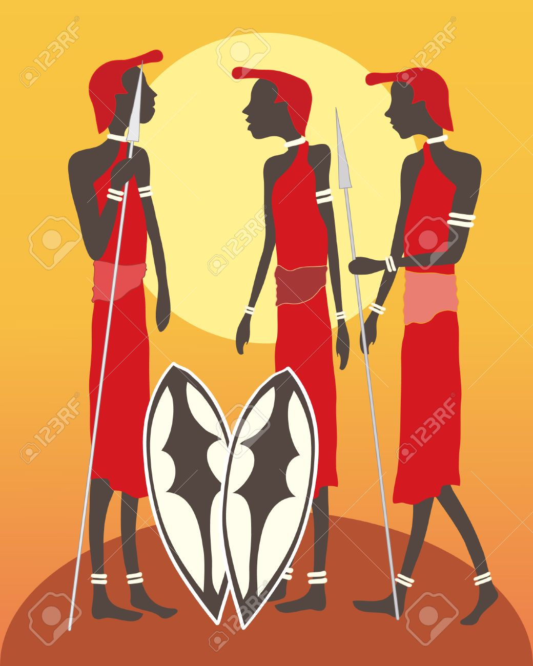 an illustration of a group of masai warriors talking in front of an african sunset Stock Vector - 9114237