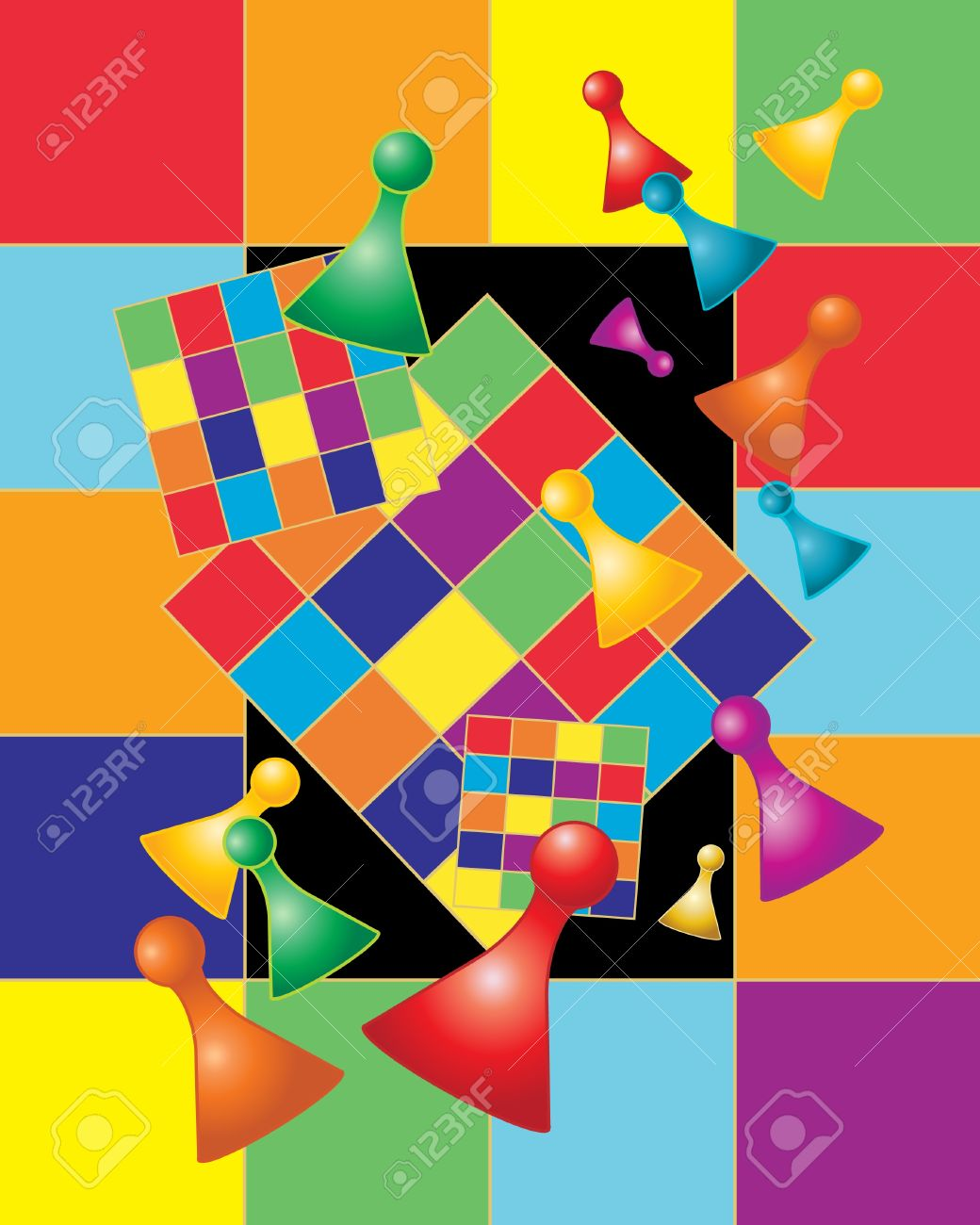 An Illustration Of A Board Game With Game Pieces In Rainbow Colors